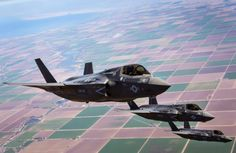 Three Lighting II Joint Strike Fighters with Marine Fighter Attack Squadron Marine Aircraft Wing: United States Marine Corps Official Page Military Jets, Military Aircraft, Fighter Aircraft, Fighter Jets, American Air, Us Marine Corps, Jet Plane, Usmc, Marines