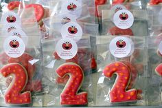 "These are SO CUTE!!!  ""2"" cookie favors inspired by Elmo by TreatsSF, via Flickr"