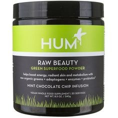 Hum Nutrition Raw Beauty Green Super Food Powder in Mint Chocolate... (518.230 IDR) ❤ liked on Polyvore featuring beauty products and neon green