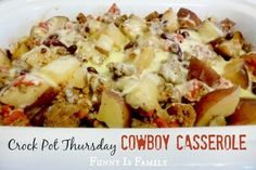 This Crockpot Cowboy Casserole is a hearty and family-friendly Happy crockpot meal. My husband loved this slow cooker recipe! Use red potatoes and rote! Crock Pot Food, Crockpot Dishes, Crock Pot Slow Cooker, Slow Cooker Recipes, Crockpot Recipes, Cooking Recipes, Ground Beef Recipes, Food Dishes, Main Dishes