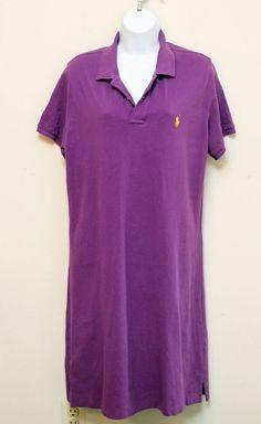 Ralph Lauren Sport Polo Shirt Dress Black Cotton Pique Short Sleeve Size XL #RALPHLAUREN #ShirtDress #Casual
