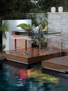 We have gathered 38 backyard pool ideas installed by some pool designers. These swimming pool design ideas will transform your backyard into an outdoor oasis. Koi Pond Design, Garden Design, House Design, Outdoor Dining, Outdoor Spaces, Outdoor Decor, Dining Table, Dining Area, Outdoor Photos