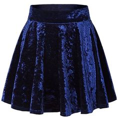 Urban CoCo Women's Vintage Velvet Stretchy Mini Flared Skater Skirt ($11) ❤ liked on Polyvore featuring skirts, mini skirts, circle skirt, flared skirts, blue skater skirt, flare skirts and mini circle skirt