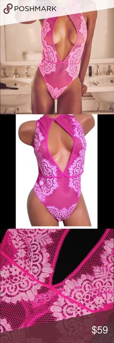 HIGH NECK FISHNET LACE BODYSUIT TEDDY BABYDOLL Sexy Teddy High Neck Fishnet Eyelash Lace Teddy  Very comfortable and breathable  RARE/ Hard to find  SIZE: Small   COLOR CODE: 3CFQ (Pink) Victoria's Secret Intimates & Sleepwear Chemises & Slips