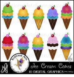 Ice Cream Cones set of 10 Digital Graphics Clip by IrrationalArts, $3.00