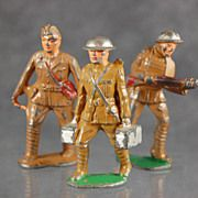 """Vintage cast  metal toy soldiers Made in USA  Barclay  3"""""""