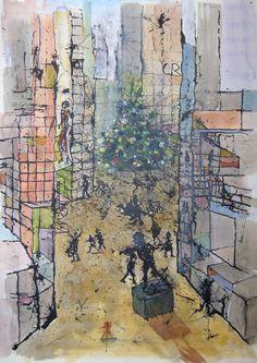 Pim van Halem. The statue. Uit de serie City scapes, waarin het stedelijke perspectief wordt gesuggereerd door verticale en schuine lijnen, waartussen zich alles kan afspelen. Achter het standbeeld van Olympisch bokskampioen Bep van Klaveren doemt de nieuwbouw op van Nieuw Crooswijk.