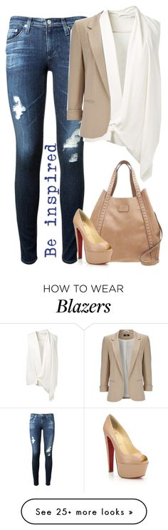 """Casual Outfit"" by cloudybooks on Polyvore featuring AG Adriano Goldschmied, Victoria Beckham, Wallis, Pepe Jeans London and Christian Louboutin"