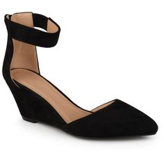 Women's Journee Collection Kova Faux Suede Ankle Strap Pointed Toe Wedges - Black 7.5