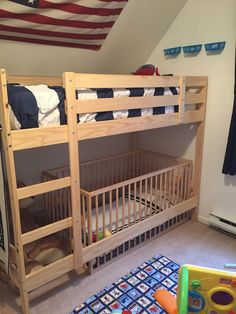 36 Amazing Bunk Bed Ideas For Boys Room. Bunk Beds can make a really fun addition to your kid's bedroom(s), while providing space saving bedding. Bunk Bed Crib, Toddler Bunk Beds, Kid Beds, Toddler Beds For Boys, Baby Bunk Beds, Bunk Bed Curtains, Kids Girls, Bunk Beds With Stairs, Cool Bunk Beds