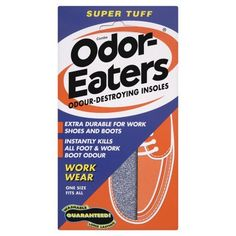 Odor-Eaters Insoles Super Tuff Pr by Odor-Eaters. $18.08. Stops Odour And Wetness. Please read the instructions carefully before use. Contains Three Powerful Odour Destroyers Including Activated Charcoal. * Extra Comfort For Everyday Shoes* Instantly Kills All Foot And Boot Odour* Guaranteed 4 Monthstodays Most Effective Odour-Destroying Insole...Super Tuff - Especially For Work Shoes. No Matter How Hard You Are On Your Work Shoes, This Tough Insole Will Stand Up T...
