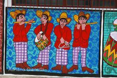"Arte urbana pintura em parede ""Banda de Pifanos"" Naif pintura primitiva"