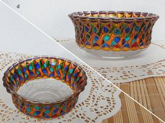 RichanaDragon ||| Rainbow colors bowl with carnival pattern. Hand painted stained glass.