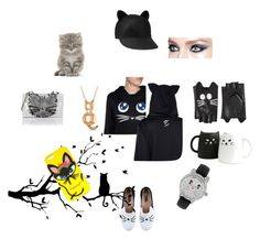"""""""It's all abouts cats, baby!"""" by golden-eclipse on Polyvore featuring mode, Karl Lagerfeld, Dsquared2, Allurez et Betsey Johnson"""