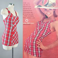 """Summer Fashion: Vintage Early Swimsuit by """" Marina Del Mar - California"""". As shown on Original Advertisement.♦ Constructed in a Red / White Tartan Plaid, Stretchy Lastex Swim Fabric. 60s And 70s Fashion, 1930s Fashion, Vintage Fashion, Los Angeles Shopping, Full Skirt Dress, 20th Century Fashion, Vintage Swimsuits, Full Circle Skirts, Vintage Shops"""