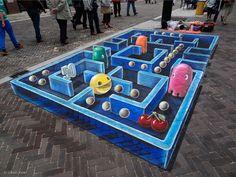 Leon Keer, 3D streetpainting Pac-Man