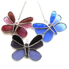Butterfly Trio Stained Glass Suncatcher - The British Craft House Different Textures, Different Colors, Glass Butterfly, Wire Rings, Split Ring, Suncatchers, Home Crafts, Cat Eye Sunglasses, Stained Glass