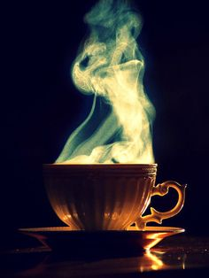 Whimsical wings made of steam, as the story wafts from the cup...
