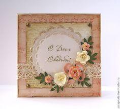 Купить или заказать Открытка свадебная ' Винтаж' в интернет-магазине на Ярмарке Мастеров. Оригинальная открытка на свадьбу. По желанию оформление внутри вашего текста и кармашек для денежного подарка.