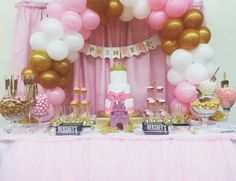 Candy bar and decor by @herdurtylaundry royal baby shower