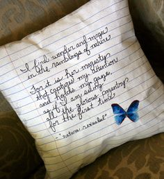 Poetry Pillow! Super cool idea for integrating Art in the English classroom. Art and English teachers could work together to design a unit that incorporates poetry and pillow making OR teacher could make 'em to decorate the class. I prefer involving students, but whatever floats your boat is cool with me.