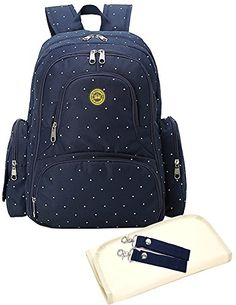 Sleeping Lamb Baby 16 Pockets Waterproof Oxford Fabric Travel Backpack Diaper Bag with Changing Pad 3 Pieces Set (Dark Blue Dot) - $89.99