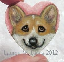 Tiny Pembroke Welsh Corgi Dog Hand Painted Wooden 1.75 inch Heart Brooch Pin by Artist Lauren M Davis 2012 SOLD. Custom Brooches of your Furbaby are 35.00 plus 3.50 Shipping.