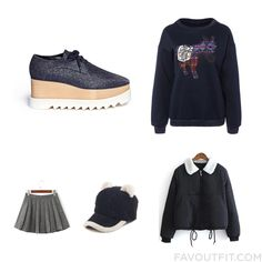 Ootd Products With Stella Mccartney Oxfords Sweatshirt Hoodie Jacket And Grey Skirt From November 2016 #outfit #look
