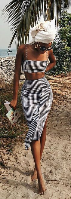 Spend the day sailing in the Down By The Bay Blue and White Striped Two-Piece Dress! Striped cotton two-piece dress with crop top and midi skirt. Mode Outfits, Stylish Outfits, Fashion Outfits, Co Ords Outfits, Heels Outfits, Stylish Clothes, Fashion Clothes, Girl Outfits, Shoes Heels