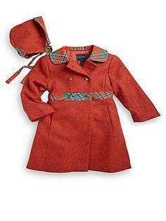Oscar de la Renta Infant's Two-Piece Wool Coat & Hat Set