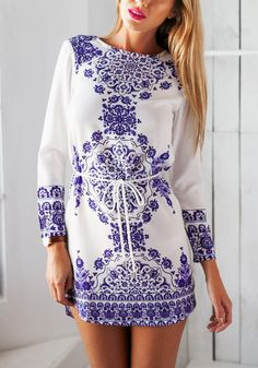 This porcelain print shift dress features a crew neckline, long sleeves and an adjustable tie at the waist for easy fit. | Lookbook Store Dress
