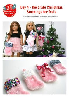 4 easy ways to decorate Christmas stockings for dolls or girls