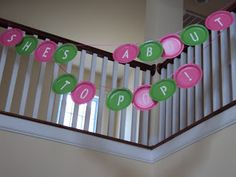 Great idea cheap. using paper plates and cut out letters to make a banner - could use it for any party! :)