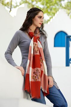 10701de8c77 Add spunk to any outfit with this printed scarf from Shingora. The off beat  floral pattern adorning this wool and lurex blend scarf in black sets it  apart.