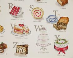 Cake Alphabet Illustrated Giclée Print Wall Art - Prints and Posters British Cake, Gcse Art Sketchbook, Alphabet Art, Heart Decorations, Kitchen Wall Art, Hanging Ornaments, Cake Art, Watercolor Illustration, Really Cool Stuff