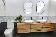 Flashback to this awesome bathroom 😍 Happy Friday! Bathroom Renos, Bathroom Vanities, Amazing Transformations, Amazing Bathrooms, Double Vanity, Bathroom Designs, Bathroom Ideas, Projects, Happy Friday