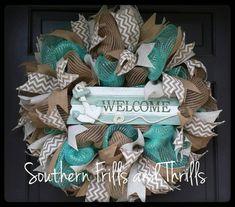 Deco Mesh Wreath, Summer Wreath, Mesh Wreath, Beach Wreath, Summer Deco Mesh Wreath, Door Wreath, Front Door Wreath, Deco Mesh, Wreath by SouthernThrills on Etsy https://www.etsy.com/listing/230433375/deco-mesh-wreath-summer-wreath-mesh