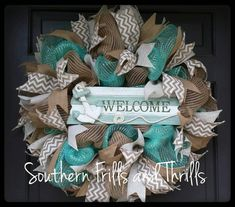 Deco Mesh Wreath, Summer Wreath, Mesh Wreath, Beach Wreath, Summer Deco Mesh Wreath, Door Wreath, Front Door Wreath, Deco Mesh, Wreath by SouthernThrills on Etsy https://www.etsy.com/listing/230433375/deco-mesh-wreath-summer-wreath-mesh