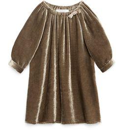 Gucci Long-Sleeve Silk-Velvet Dress, Hazel, Size 6-36 Months