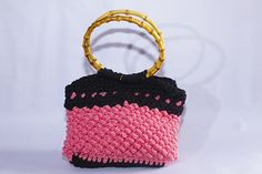 Hobo Bag Crochet Bag Handmade Bag Bamboo Ring Handles PInk