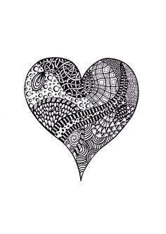 Abstract Ink Drawing, Zentangle Inspired Art Flower, Black and White, 8 x Printable Art Fantasy Girl, Black Ink Art, Art Gallery, Zentangle Patterns, Zentangles, Ink Drawings, Abstract Lines, Heart Art, Doodle Art