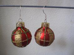 Christmas Earrings Red Christmas Bulb Earrings by SmithNJewels, $8.99
