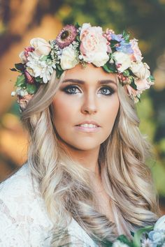 Boho luxe wedding hair and makeup with pastel flower crown | Ethereal Photography | See more: http://theweddingplaybook.com/bohemian-luxe-wedding/