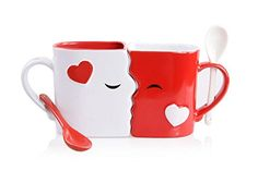 Kissing Mugs Set Exquisitely Crafted Two Large Cups Each with Matching Spoon For Him and Her on Valentines Day Birthday Anniversary Christmas or Anytime a Couple Wishes by Blu Devil *** Check out this great article. Valentines Day Birthday, Cute Valentines Day Gifts, Valentines Day Weddings, 3rd Year Anniversary Gifts, Boyfriend Anniversary Gifts, Boyfriend Gifts, Unique Wedding Gifts, Romantic Gifts, Cadeau Couple