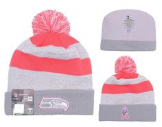 Men s   Women s Seattle Seahawks New Era NFL Women s Breast Cancer  Awareness Knit Pom Beanie Hat af0c30e57
