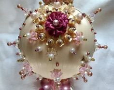 Vintage Christmas Ornament Satin Beaded Ornament Pink Satin