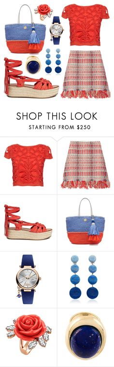 """Coral Blue"" by leiastyle on Polyvore featuring Alice + Olivia, Tory Burch, Sigerson Morrison, Vivienne Westwood, Rebecca de Ravenel, Mawi, Lanvin, Blue, orange and espadrille"