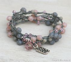 Pink and Gray Bohemian Crocheted 5x Bracelet Wrap or Necklace by JonaraBluMauiJewelry, $40.00