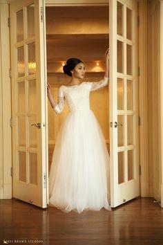 Sennet Gown by Elizabeth Cooper Design | Ali Brown Studios | modest wedding dress | ball gown | modest | lace wedding gown | tulle wedding dress | princess | fairy tale