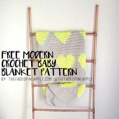 Multi Hearts Modern Tapestry Crochet Baby Blanket Pattern